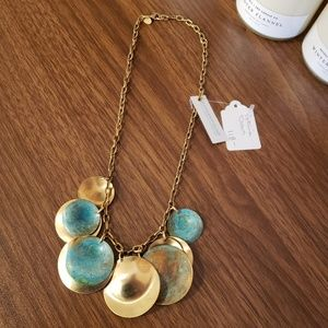 Brass Discs Verdigris Statement Necklace